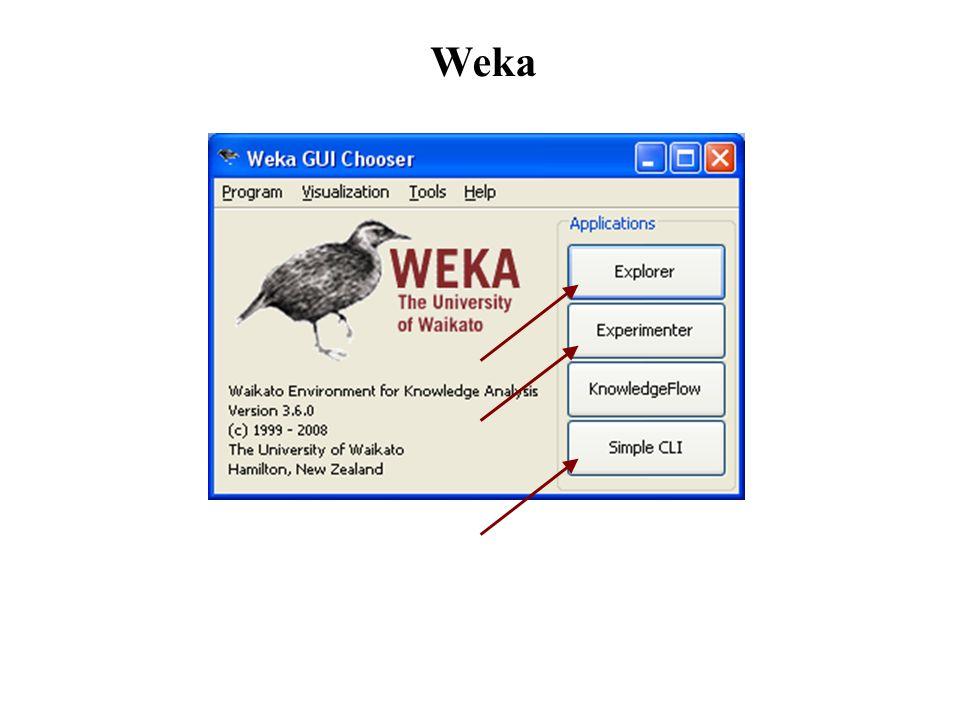 Weka: preprocess e associate Preprocess: permette di caricare e modificare i dati su cui eseguire le varie elaborazioni Asssociate: permette l'elaborazione e valutazione di regole di associazione Weka