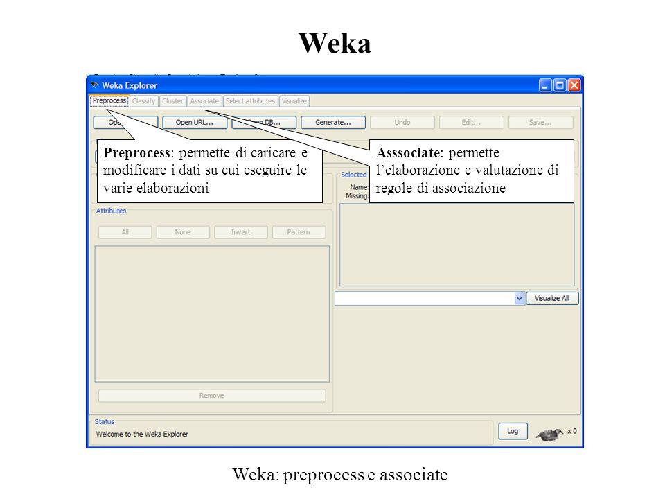 Weka: preprocess e associate Preprocess: permette di caricare e modificare i dati su cui eseguire le varie elaborazioni Asssociate: permette l'elabora