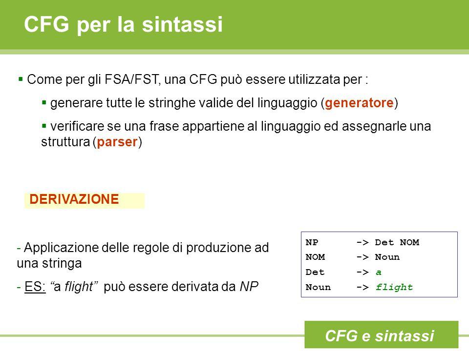  Come per gli FSA/FST, una CFG può essere utilizzata per :  generare tutte le stringhe valide del linguaggio (generatore)  verificare se una frase