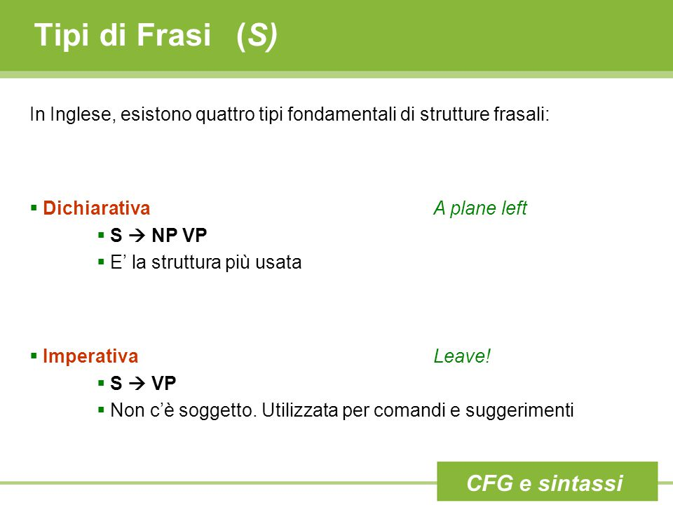 Tipi di Frasi(S) In Inglese, esistono quattro tipi fondamentali di strutture frasali:  DichiarativaA plane left  S  NP VP  E' la struttura più usa