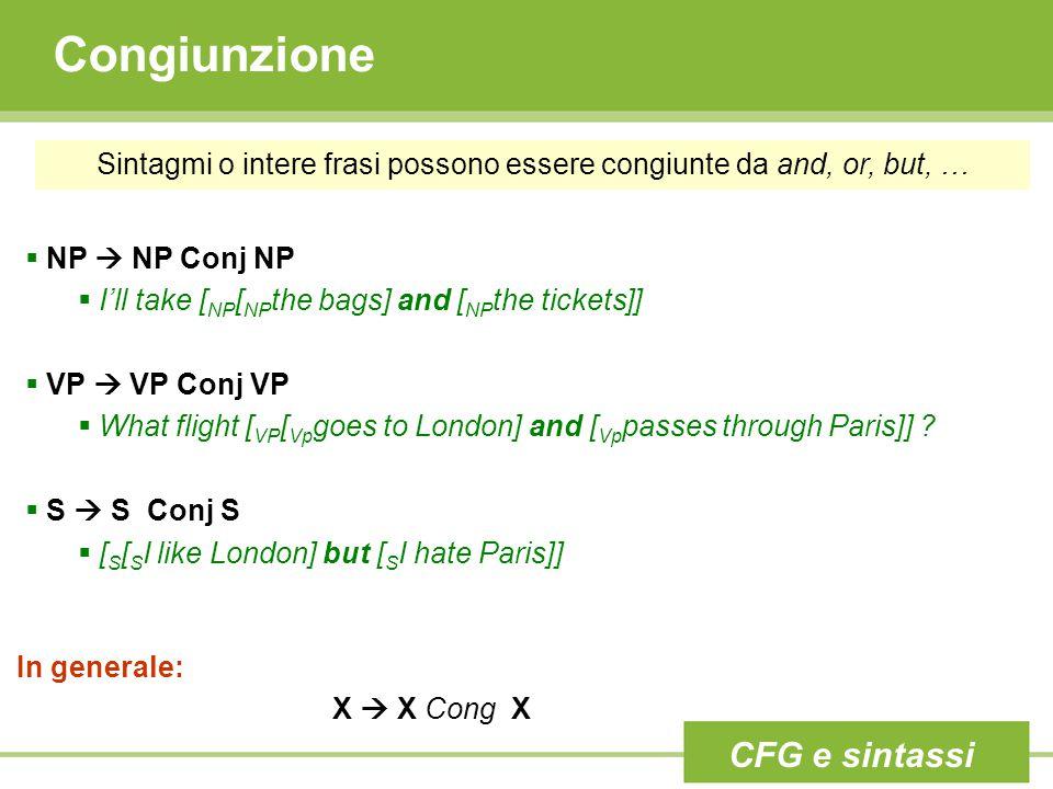 Congiunzione Sintagmi o intere frasi possono essere congiunte da and, or, but, …  NP  NP Conj NP  I'll take [ NP [ NP the bags] and [ NP the ticket