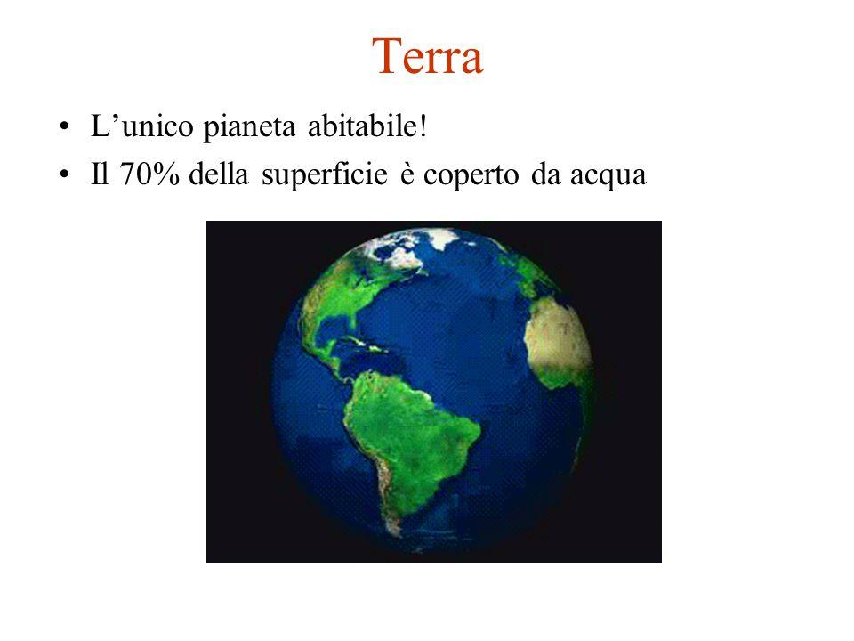 Terra L'unico pianeta abitabile! Il 70% della superficie è coperto da acqua