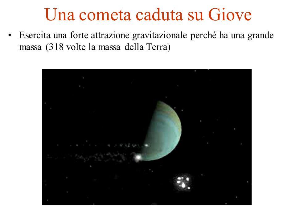 Una cometa caduta su Giove Esercita una forte attrazione gravitazionale perché ha una grande massa (318 volte la massa della Terra)