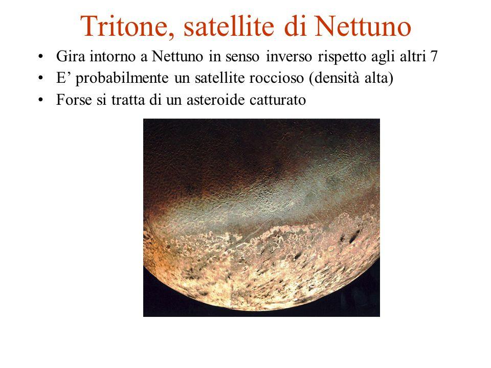Tritone, satellite di Nettuno Gira intorno a Nettuno in senso inverso rispetto agli altri 7 E' probabilmente un satellite roccioso (densità alta) Fors