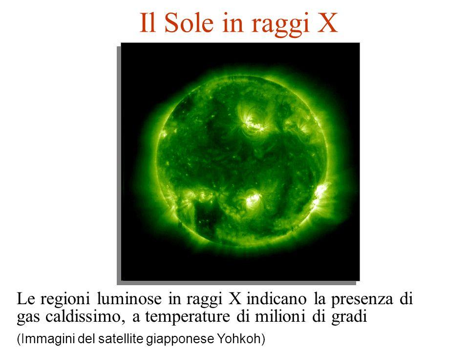 Il Sole in raggi X Le regioni luminose in raggi X indicano la presenza di gas caldissimo, a temperature di milioni di gradi (Immagini del satellite gi
