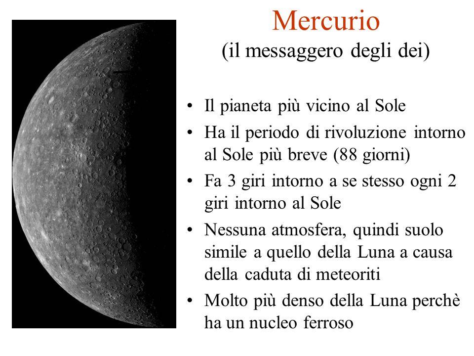 Mercurio (il messaggero degli dei) Il pianeta più vicino al Sole Ha il periodo di rivoluzione intorno al Sole più breve (88 giorni) Fa 3 giri intorno
