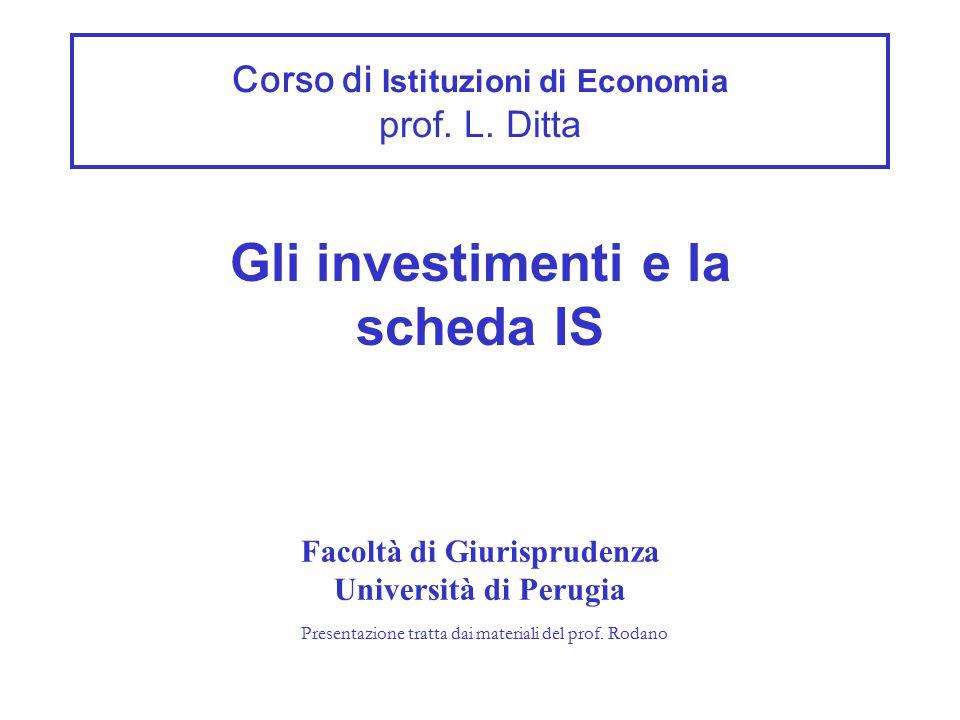Corso di Istituzioni di Economia prof. L. Ditta Gli investimenti e la scheda IS Facoltà di Giurisprudenza Università di Perugia Presentazione tratta d