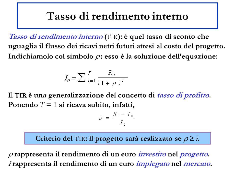 Tasso di rendimento interno Tasso di rendimento interno ( TIR ): è quel tasso di sconto che uguaglia il flusso dei ricavi netti futuri attesi al costo