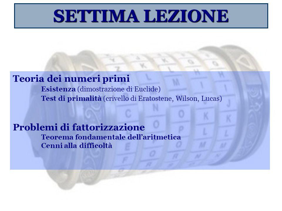 SETTIMA LEZIONE Teoria dei numeri primi Esistenza (dimostrazione di Euclide) Test di primalità (crivello di Eratostene, Wilson, Lucas) Problemi di fat