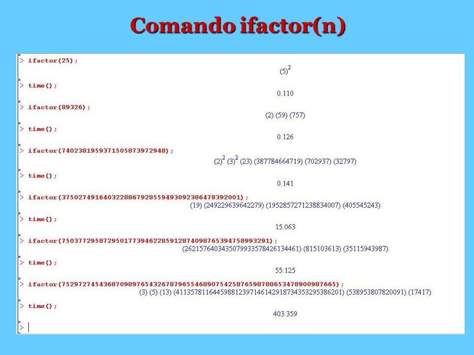 Comando ifactor(n)
