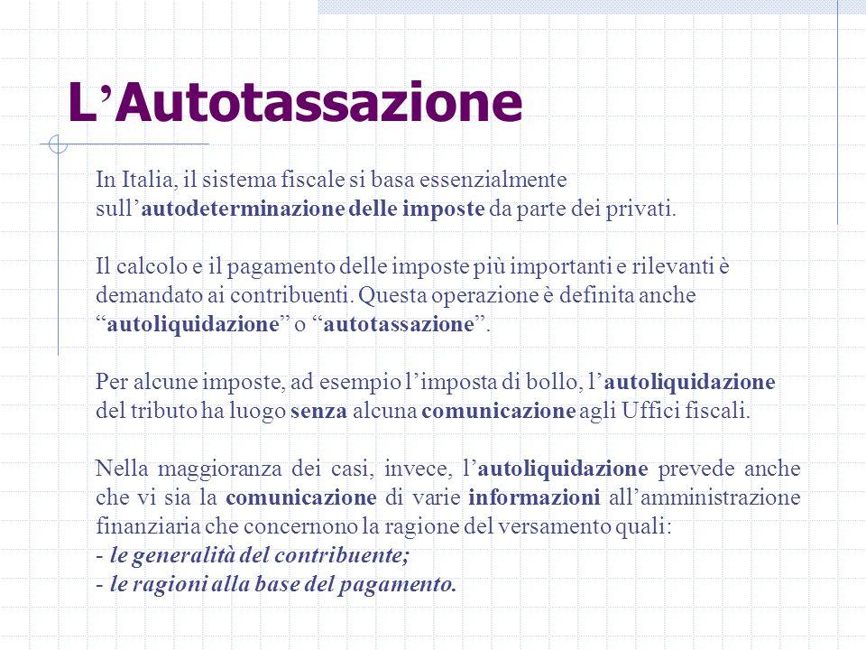 L ' Autotassazione In Italia, il sistema fiscale si basa essenzialmente sull'autodeterminazione delle imposte da parte dei privati. Il calcolo e il pa