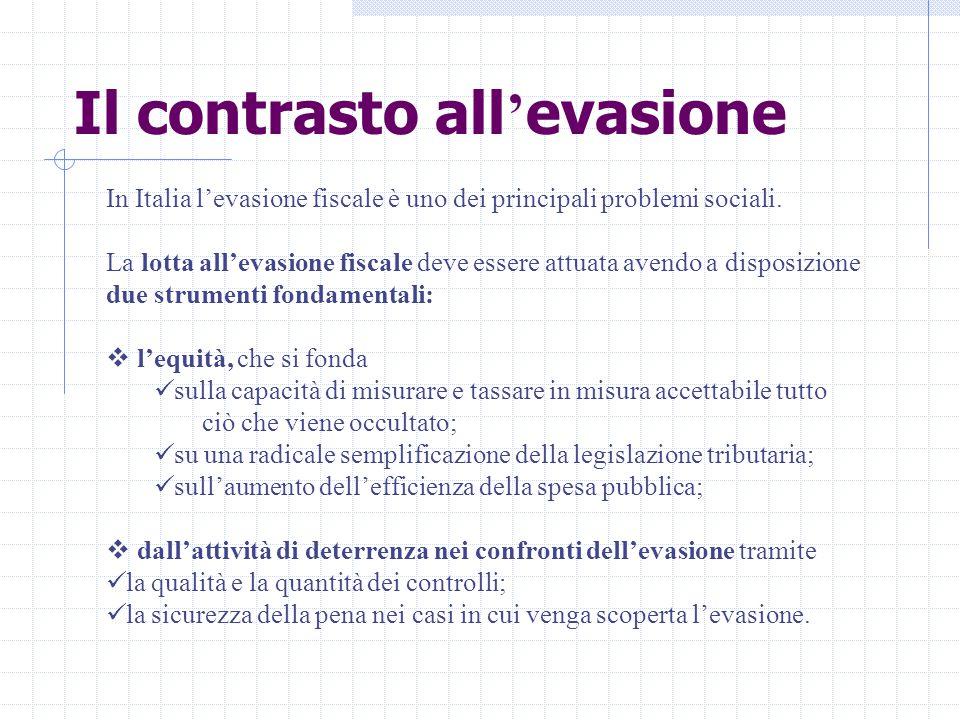 Il contrasto all ' evasione In Italia l'evasione fiscale è uno dei principali problemi sociali.