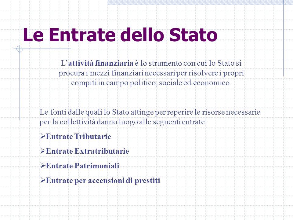 Le Entrate dello Stato L'attività finanziaria è lo strumento con cui lo Stato si procura i mezzi finanziari necessari per risolvere i propri compiti in campo politico, sociale ed economico.