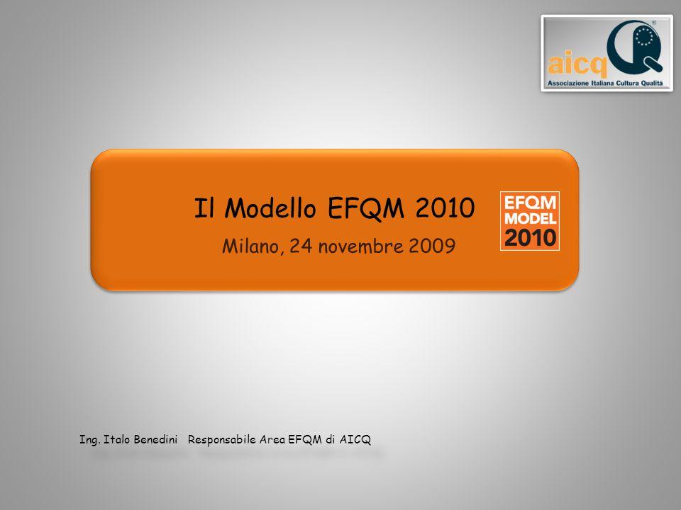 Il Modello EFQM 2010 Milano, 24 novembre 2009 Ing. Italo Benedini Responsabile Area EFQM di AICQ Ing. Italo Benedini Responsabile Area EFQM di AICQ