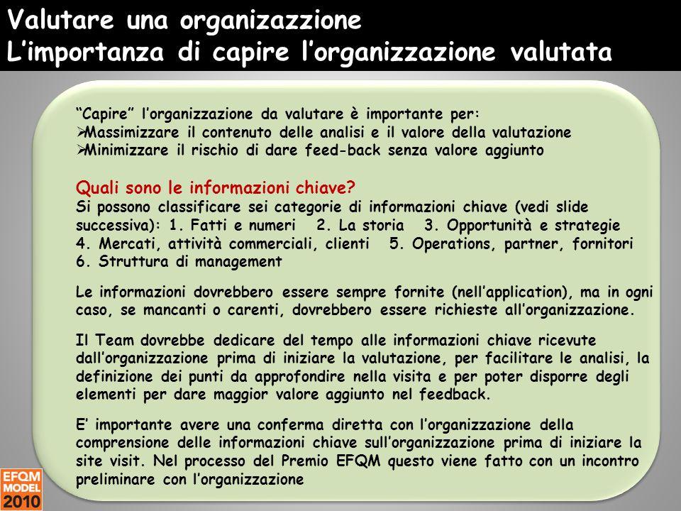 """Valutare una organizazzione L'importanza di capire l'organizzazione valutata """"Capire"""" l'organizzazione da valutare è importante per:  Massimizzare il"""