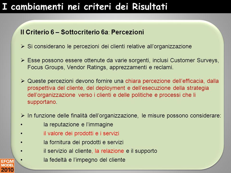 I cambiamenti nei criteri dei Risultati Il Criterio 6 – Sottocriterio 6a : Percezioni  Si considerano le percezioni dei clienti relative all'organizz