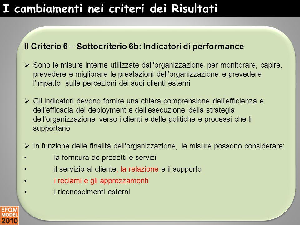 I cambiamenti nei criteri dei Risultati Il Criterio 6 – Sottocriterio 6b: Indicatori di performance  Sono le misure interne utilizzate dall'organizza