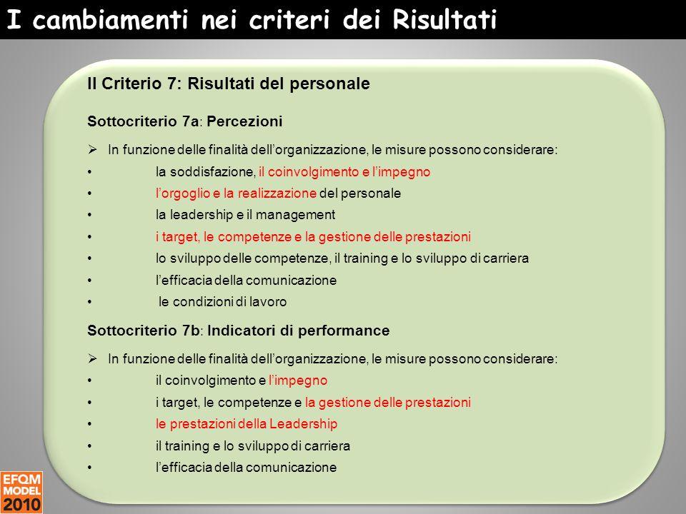 I cambiamenti nei criteri dei Risultati Il Criterio 7: Risultati del personale Sottocriterio 7a : Percezioni  In funzione delle finalità dell'organiz