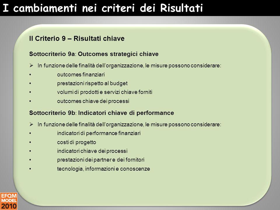 I cambiamenti nei criteri dei Risultati Il Criterio 9 – Risultati chiave Sottocriterio 9a : Outcomes strategici chiave  In funzione delle finalità de