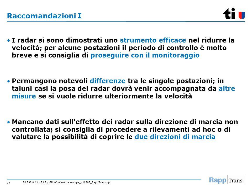 60.390.0 / 11.9.09 / GM /Conferenza stampa_110909_Rapp Trans.ppt 25 Raccomandazioni I I radar si sono dimostrati uno strumento efficace nel ridurre la velocità; per alcune postazioni il periodo di controllo è molto breve e si consiglia di proseguire con il monitoraggio Permangono notevoli differenze tra le singole postazioni; in taluni casi la posa del radar dovrà venir accompagnata da altre misure se si vuole ridurre ulteriormente la velocità Mancano dati sull'effetto dei radar sulla direzione di marcia non controllata; si consiglia di procedere a rilevamenti ad hoc o di valutare la possibilità di coprire le due direzioni di marcia
