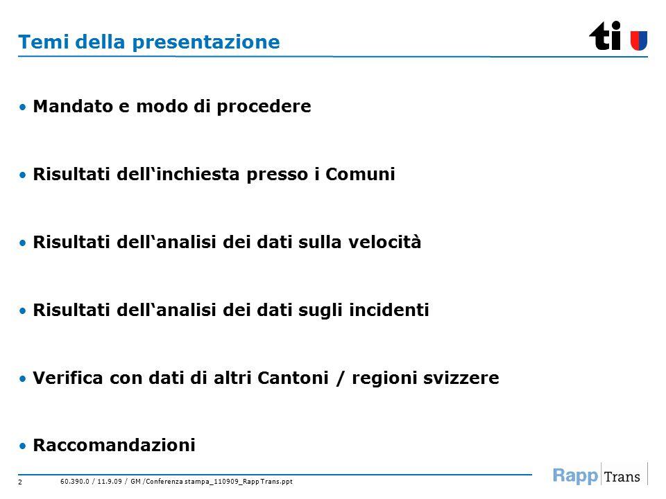 60.390.0 / 11.9.09 / GM /Conferenza stampa_110909_Rapp Trans.ppt 2 Temi della presentazione Mandato e modo di procedere Risultati dell'inchiesta presso i Comuni Risultati dell'analisi dei dati sulla velocità Risultati dell'analisi dei dati sugli incidenti Verifica con dati di altri Cantoni / regioni svizzere Raccomandazioni