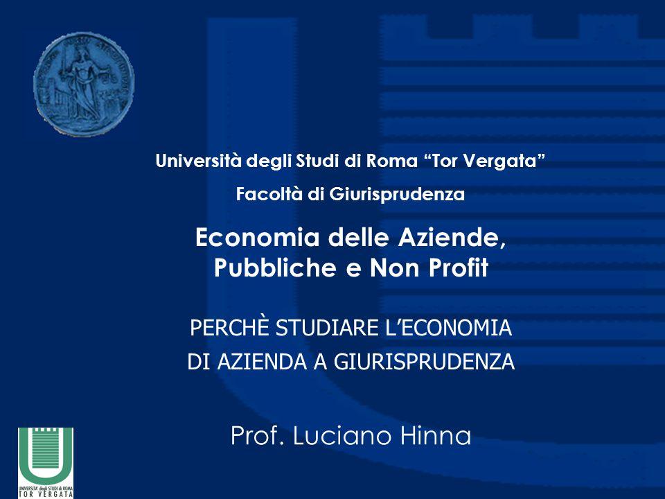 Economia delle Aziende, Pubbliche e Non Profit PERCHÈ STUDIARE L'ECONOMIA DI AZIENDA A GIURISPRUDENZA Prof.