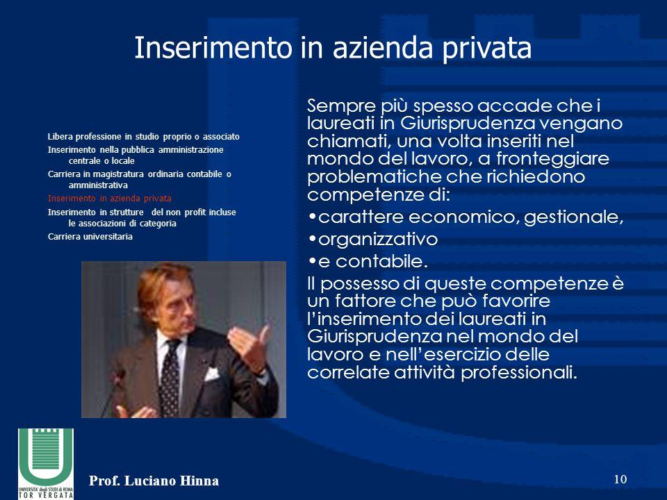 Prof. Luciano Hinna 10 Inserimento in azienda privata Sempre più spesso accade che i laureati in Giurisprudenza vengano chiamati, una volta inseriti n