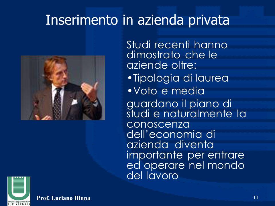 Prof. Luciano Hinna 11 Inserimento in azienda privata Studi recenti hanno dimostrato che le aziende oltre: Tipologia di laurea Voto e media guardano i