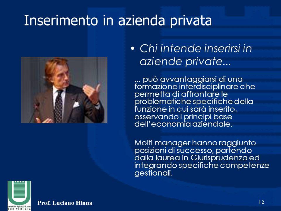 Prof. Luciano Hinna 12 Inserimento in azienda privata... può avvantaggiarsi di una formazione interdisciplinare che permetta di affrontare le problema