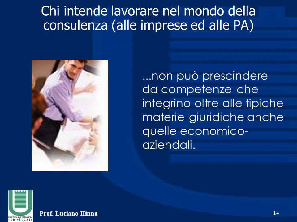 Prof. Luciano Hinna 14 Chi intende lavorare nel mondo della consulenza (alle imprese ed alle PA)...non può prescindere da competenze che integrino olt