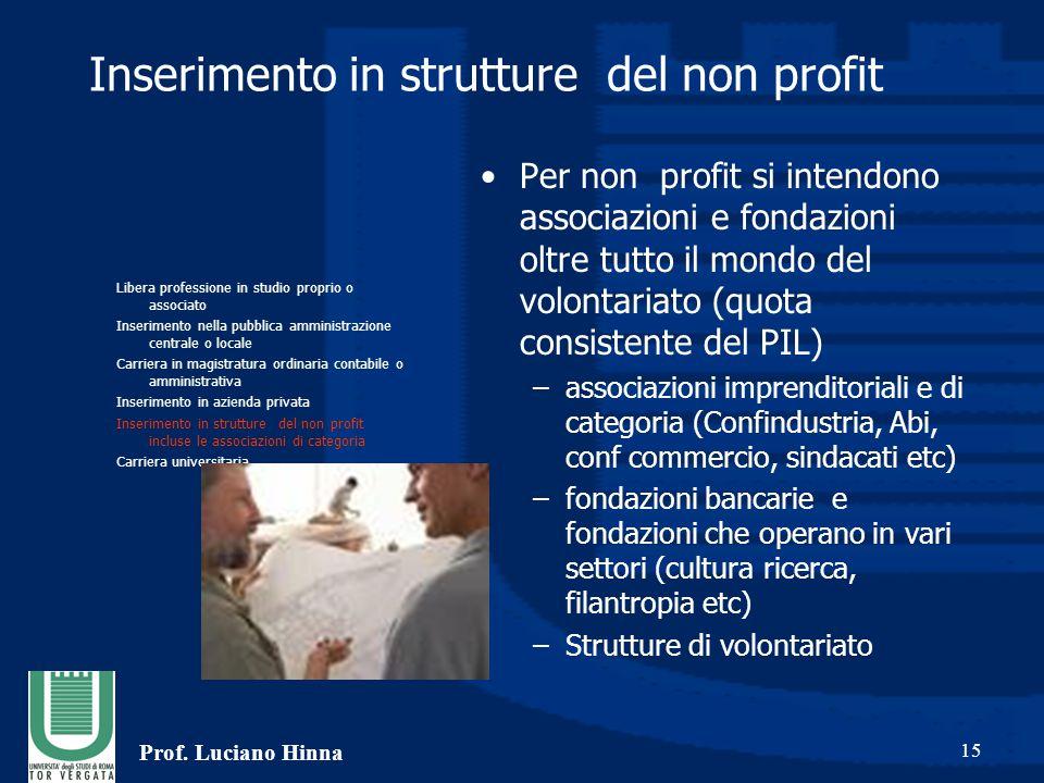 Prof. Luciano Hinna 15 Inserimento in strutture del non profit Per non profit si intendono associazioni e fondazioni oltre tutto il mondo del volontar