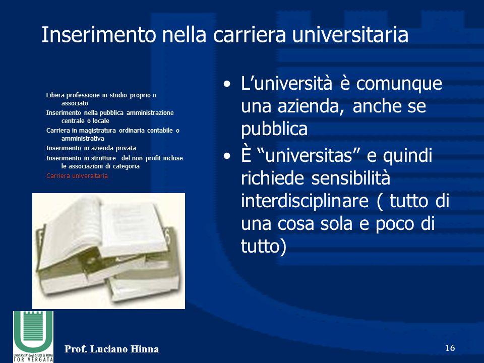 """Prof. Luciano Hinna 16 Inserimento nella carriera universitaria L'università è comunque una azienda, anche se pubblica È """"universitas"""" e quindi richie"""