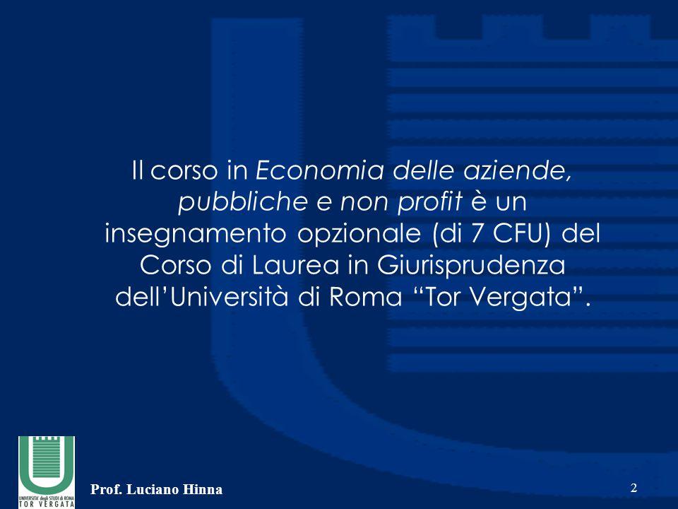 Prof. Luciano Hinna 2 Il corso in Economia delle aziende, pubbliche e non profit è un insegnamento opzionale (di 7 CFU) del Corso di Laurea in Giurisp