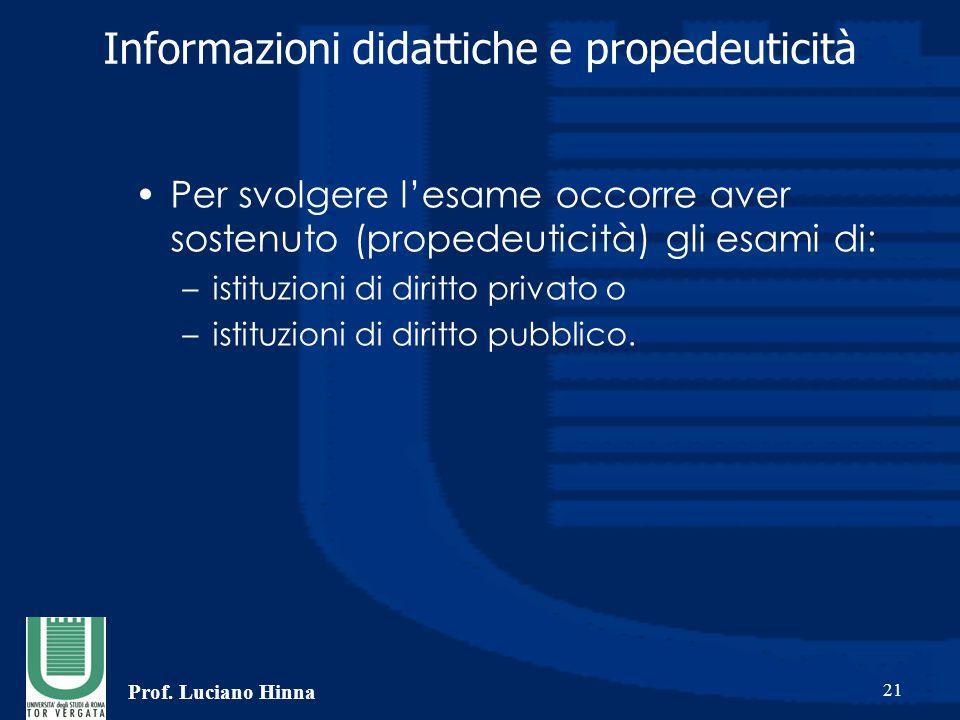 Prof. Luciano Hinna 21 Informazioni didattiche e propedeuticità Per svolgere l'esame occorre aver sostenuto (propedeuticità) gli esami di: –istituzion