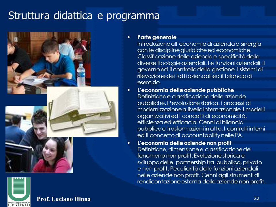 Prof. Luciano Hinna 22 Struttura didattica e programma Parte generale Introduzione all'economia di azienda e sinergia con le discipline giuridiche ed