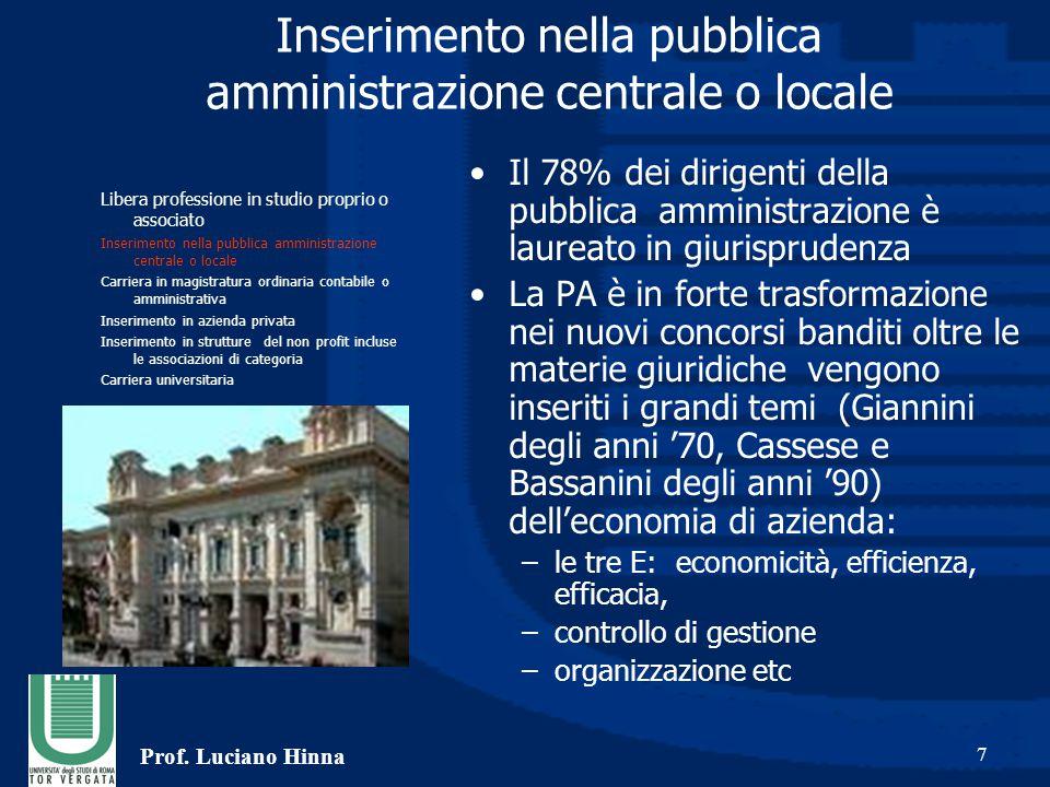 Prof. Luciano Hinna 7 Inserimento nella pubblica amministrazione centrale o locale Il 78% dei dirigenti della pubblica amministrazione è laureato in g