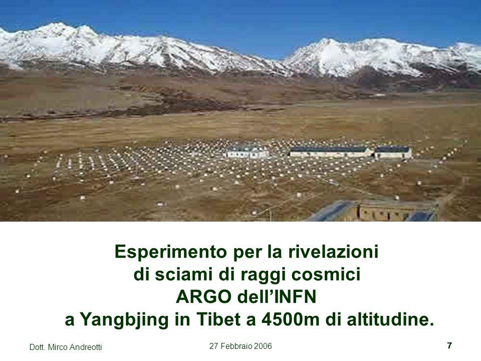 27 Febbraio 20067 Dott. Mirco Andreotti Esperimento per la rivelazioni di sciami di raggi cosmici ARGO dell'INFN a Yangbjing in Tibet a 4500m di altit