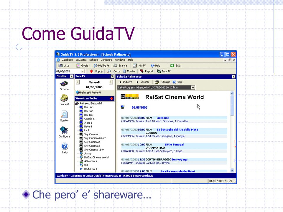Come GuidaTV Che pero' e' shareware…
