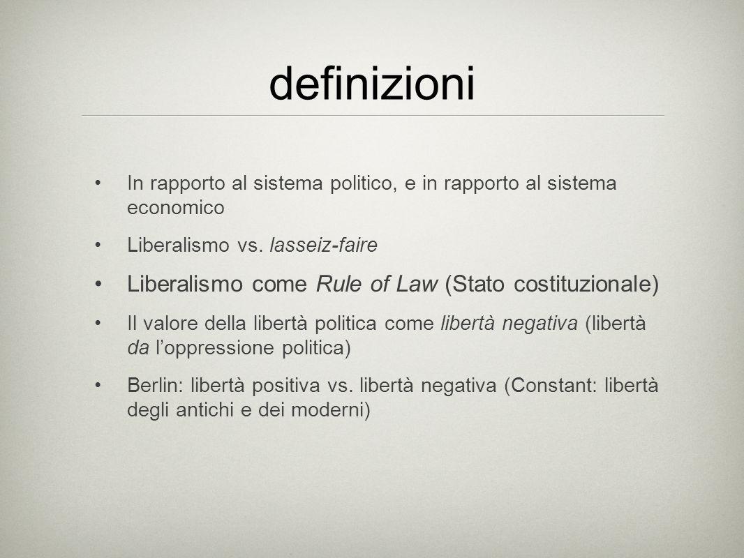 definizioni In rapporto al sistema politico, e in rapporto al sistema economico Liberalismo vs. lasseiz-faire Liberalismo come Rule of Law (Stato cost