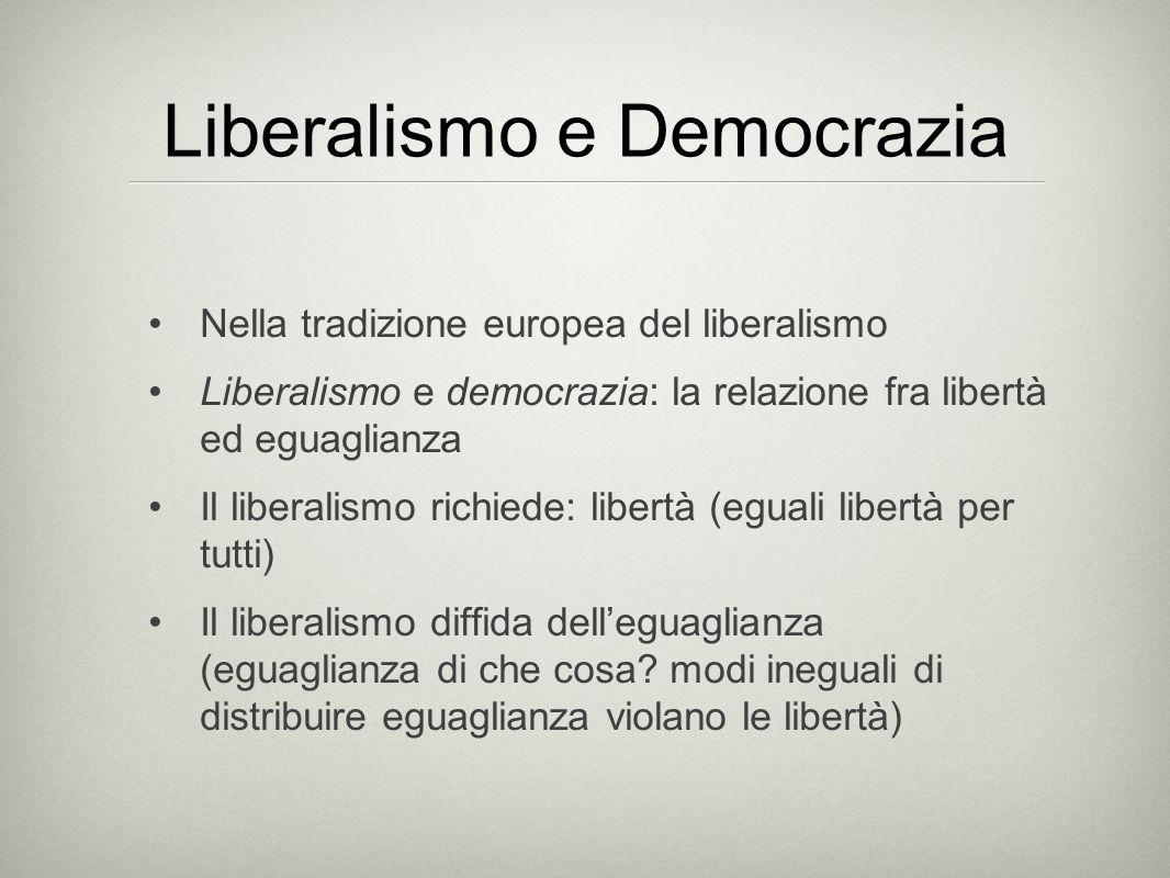 Liberalismo e Democrazia Nella tradizione europea del liberalismo Liberalismo e democrazia: la relazione fra libertà ed eguaglianza Il liberalismo ric