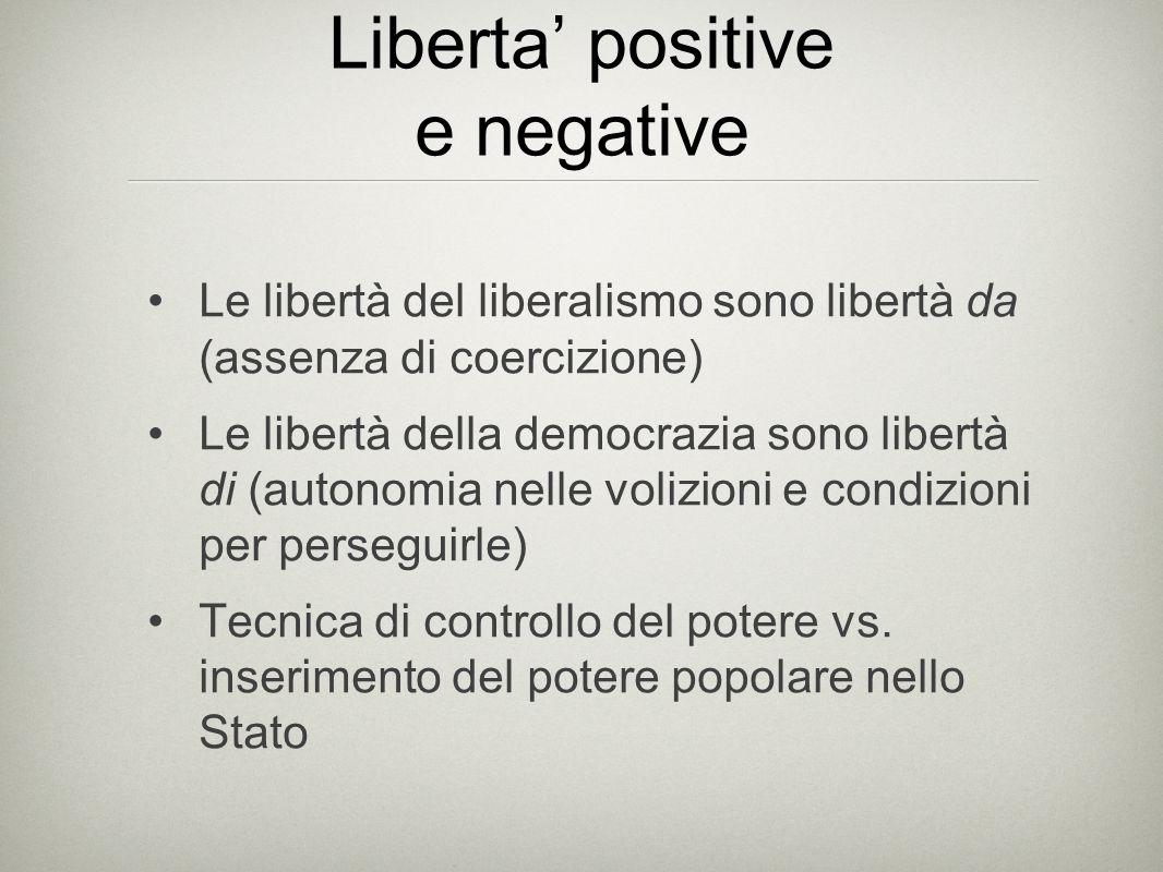 Liberta' positive e negative Le libertà del liberalismo sono libertà da (assenza di coercizione) Le libertà della democrazia sono libertà di (autonomi