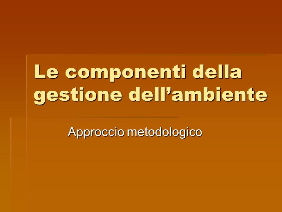 Le componenti della gestione dell'ambiente Approccio metodologico