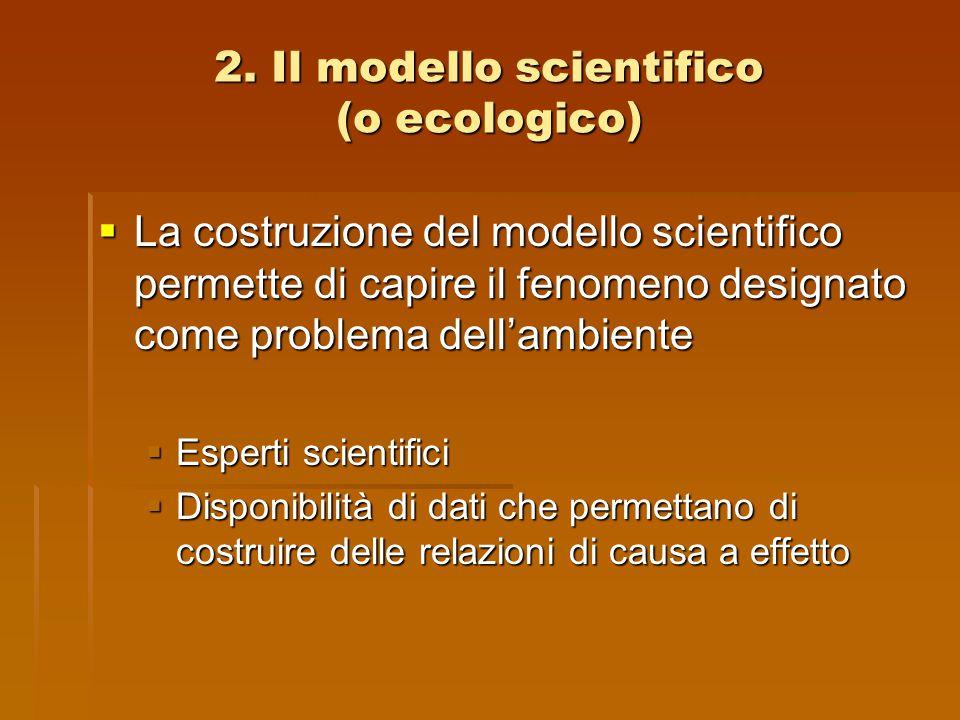 2. Il modello scientifico (o ecologico)  La costruzione del modello scientifico permette di capire il fenomeno designato come problema dell'ambiente