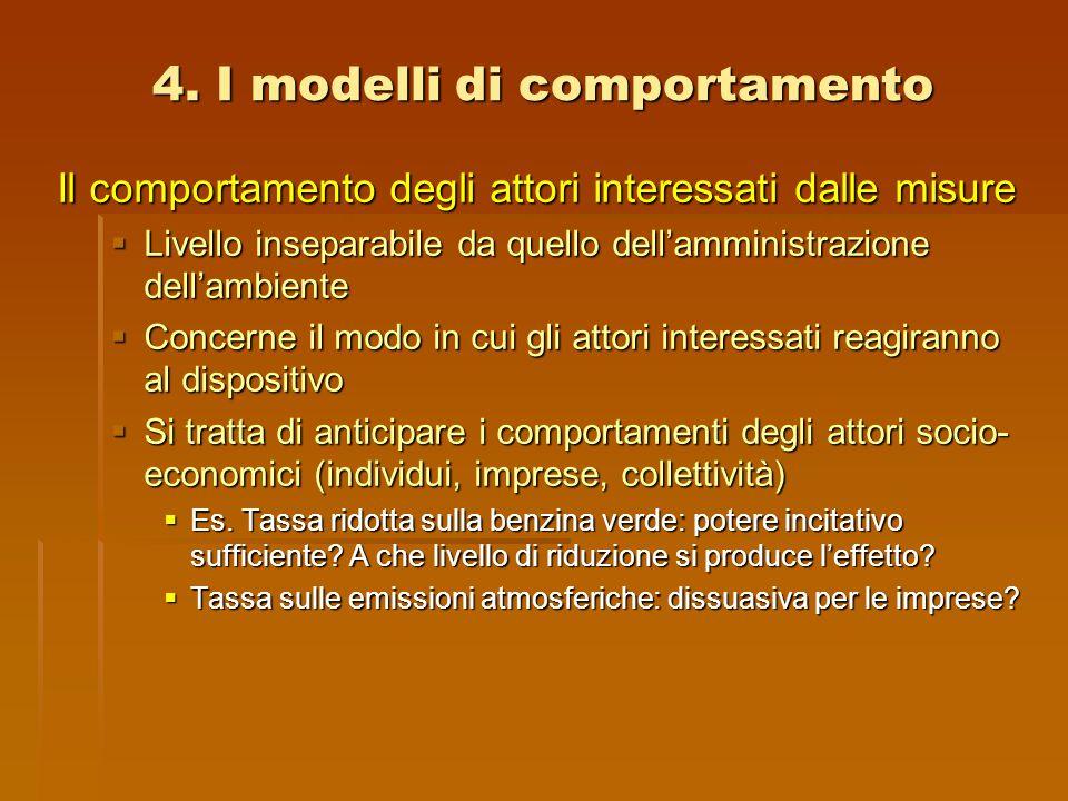 4. I modelli di comportamento Il comportamento degli attori interessati dalle misure  Livello inseparabile da quello dell'amministrazione dell'ambien