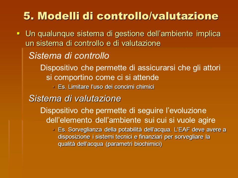 5. Modelli di controllo/valutazione  Un qualunque sistema di gestione dell'ambiente implica un sistema di controllo e di valutazione Sistema di contr