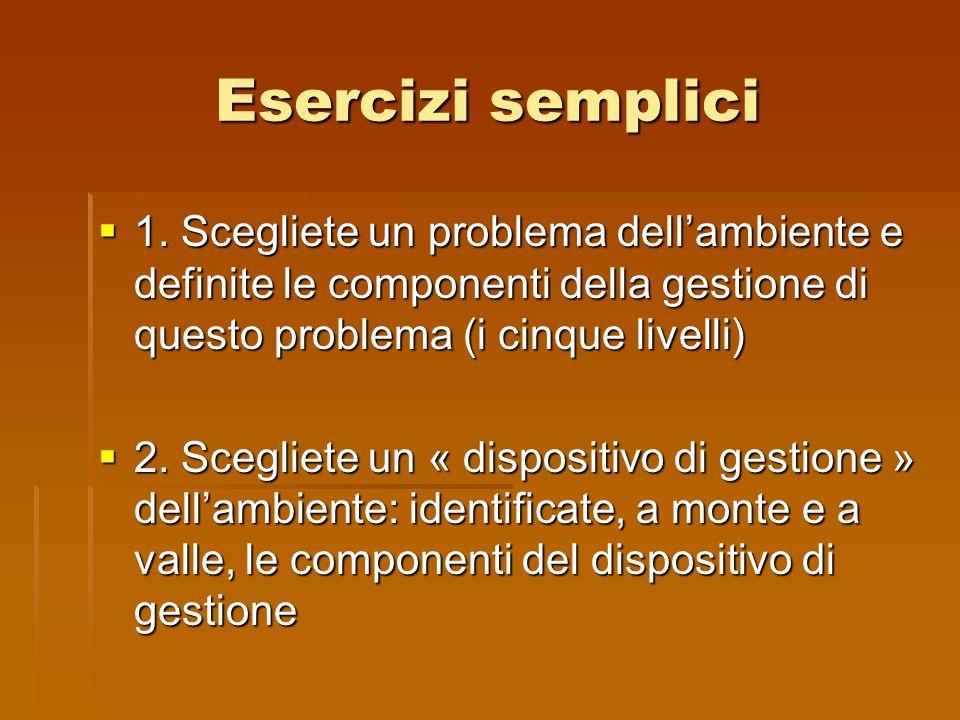 Esercizi semplici  1. Scegliete un problema dell'ambiente e definite le componenti della gestione di questo problema (i cinque livelli)  2. Scegliet