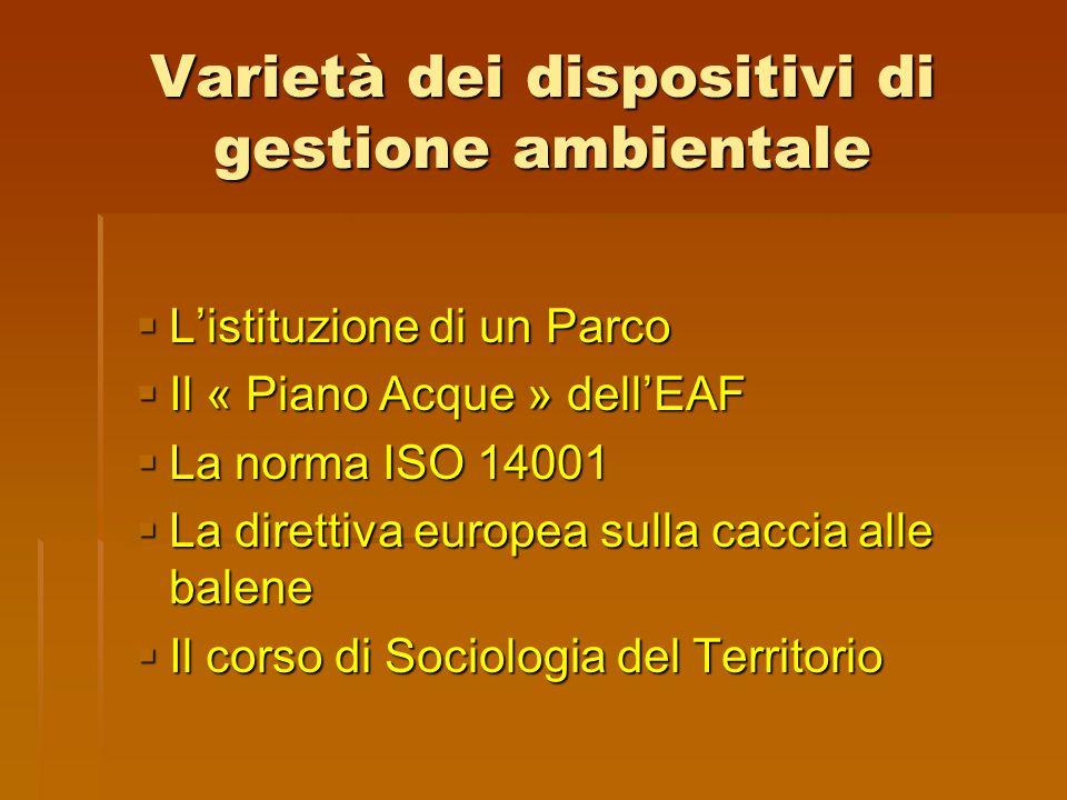 Varietà dei dispositivi di gestione ambientale  L'istituzione di un Parco  Il « Piano Acque » dell'EAF  La norma ISO 14001  La direttiva europea s