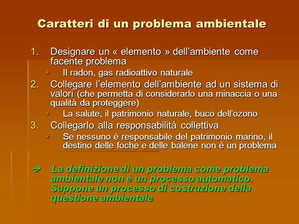 Caratteri di un problema ambientale 1.Designare un « elemento » dell'ambiente come facente problema  Il radon, gas radioattivo naturale 2.Collegare l
