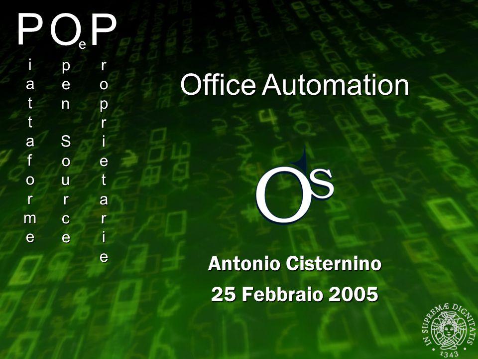 PiattaformePiattaformePiattaformePiattaforme Antonio Cisternino 25 Febbraio 2005 OpenSourceOpenSourceOpenSourceOpenSource e ProprietarieProprietarieProprietarieProprietarie Office Automation