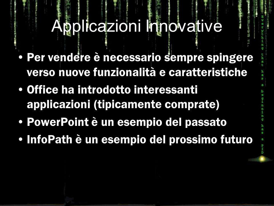 Applicazioni Innovative Per vendere è necessario sempre spingere verso nuove funzionalità e caratteristiche Office ha introdotto interessanti applicazioni (tipicamente comprate) PowerPoint è un esempio del passato InfoPath è un esempio del prossimo futuro